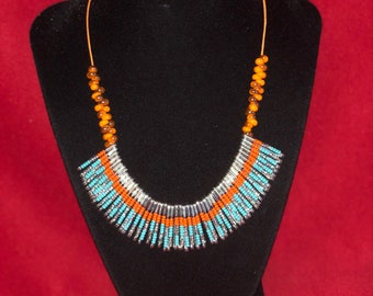 Orange and Teal Safety Pin Necklace