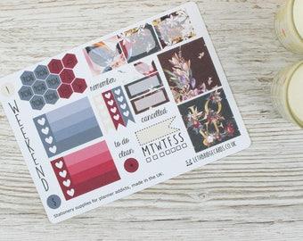 Dark Flowers Mini Happy Planner Kit; Weekly Kit; TN Kit; Planner Stickers; Bullet Journal; Mambi; Mini Kit; Valentines Stickers; Feb Kit