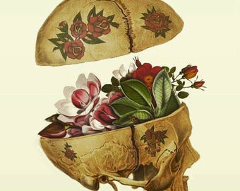 Floral Tattoo Skull Specimen Original Collage Print UV protected 7x5inches Surreal Scientific Illustration Oddity Curiosity Cabinet