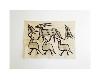 Vintage African Mud Cloth Animal Tapestry