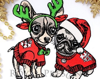 Christmas embroidery design Puppies – 2 sizes