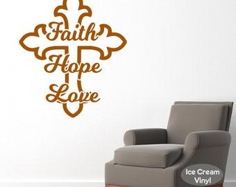 Inspirational Wall Decal Faith Hope Love Vinyl Decal for Bedroom Family Room Home Decor Vinyl Lettering