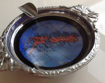 Ashtray Chrome and Butterfly Wing Art New Zealand Souvenier