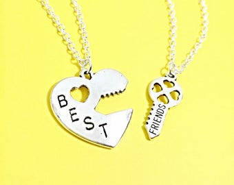 SET OF 2 Best Friend Necklaces - set of Two necklace for 2, matching friend necklace, silver best friend jewelry friendship necklaces, gift
