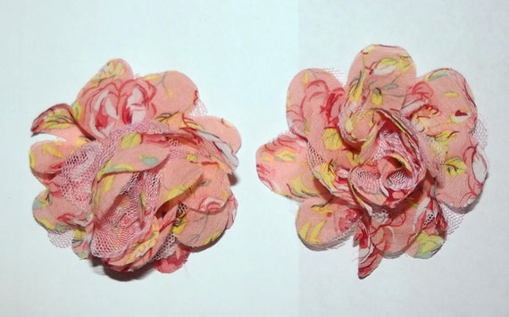 Puppy Dog Bows ~ Shabby chic lace rose flowers PEACHES & CREAM pet hair bow barrettes or bands (fb59)