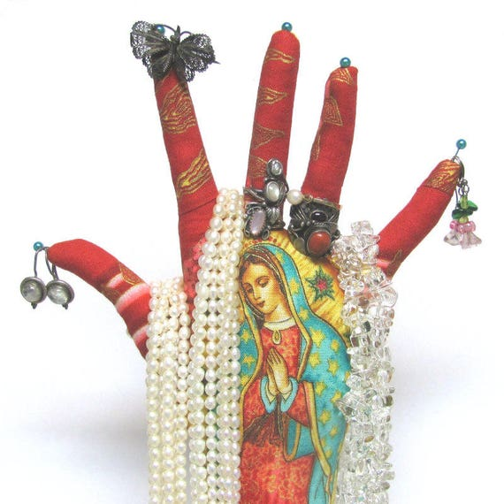 TALL Our Lady Guadalupe Red HAND-Stand ~ Jewelry Display ~ Ready to Ship