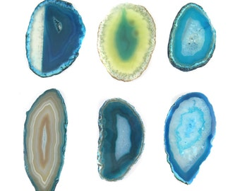 Sliced & Polished Dyed Agate Slice - Turquoise Blue Tones - You Choose (1x) (NS702-E)