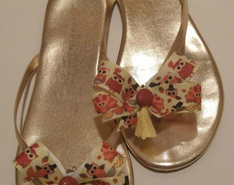 Thanksgiving owls and turkeys shoe bows with rust buttons and yellow tassels for kids and women