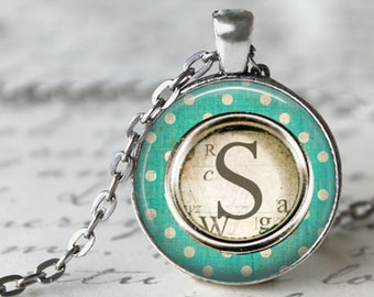 Custom Monogram Pendant, Necklace or Key Chain - Funky Chic Polka Dot - Choice of 4 Colors - Intials, Personalized Letter Necklace