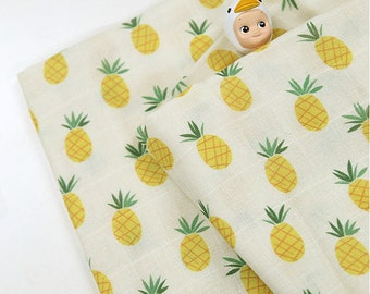 Pineapples Cotton Double Gauze Fabric - 59 Inches Wide - By the Yard 92518
