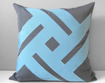 Mineral Blue Outdoor Pillow Cover, Modern Grey & Blue Throw Pillow Cover, Decorative Sunbrella Pillow Cushion Cover, Mazizmuse Pinwheel