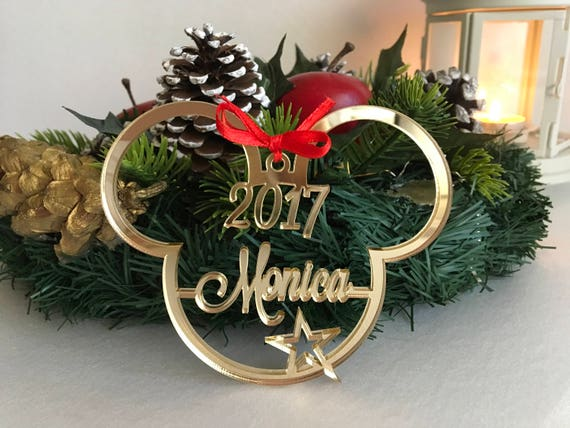 Personalized Mickey Mouse Christmas Ornament 1st Xmas Gift Disney Ornament Minnie Mouse First Christmas Bauble Decorations Mickey Mouse Ears