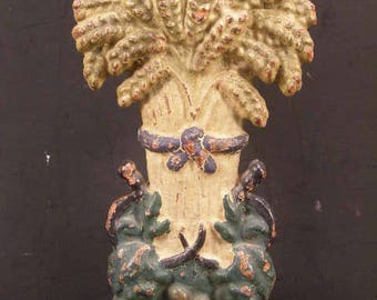 1800's EARLY Cast Iron Sheaf Wheat Doorstop All ORIGINAL PAINT Hubley Porter 19c