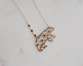 ursa major. a gold plated constellation star and geometric bear necklace