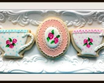 Custom Decorated Vintage Tea Time Sugar Cookies