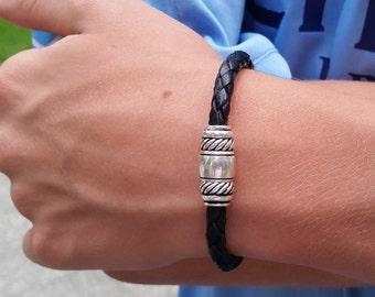 Mens Leather Bracelet / Womens Leather Bracelet / Black Leather Bracelet / Skye