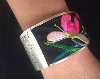 Love bird embroidered And Silver bracelet
