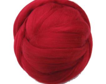 Merino / Silk Roving, Color: Fire - Beautiful warm Tone Mulberry Wool Silk Blend Fiber for Spinning & Felting