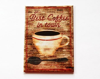 Coffee Magnet, Coffee Lover Magnet, Fridge magnet, ACEO, Kitchen magnet, Magnet, stocking stuffer, Loves Coffee, Coffee lover gift (5374)