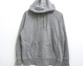 RARE!!! Champion Small Logo Embroidery Grey Colour Hoodies Jumper Pullover LL Size