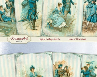 75% OFF SALE Digital Collage Sheet - Couples in love, Vintage Cards C165, Printable Download, Digital Collage, Love Atc, Aceo size