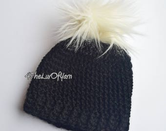 Black Beanie for a boy or girl, Beanie with fur pom pom, Winter hat for boys and girls, Crochet hat for baby, Black Hat, Pom Pom Beanie