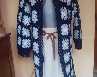 Granny square crocheted jacket/sweater  blue crochet sweater