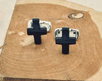 925 Stamped Silver and Onyx Cross Cufflinks