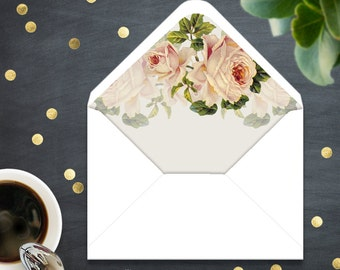 Printable Rustic Envelope Liner INSTANT DownLOAD Template - A7 Envelope Country Weddings Cream Roses Neutral Shabby Chic Floral digital PDF