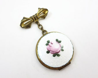 Enamel Locket Brooch - Guilloche Pink Rose