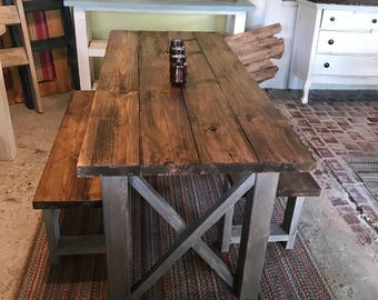 Rustic Wooden Farmhouse Table Set With Provincial Brown Top And Classic  Gray Base Criss Cross Style