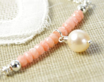 Peach Coral Necklace Freshwater Pearl Sterling Silver Beaded Bar Delicate 35th Wedding Anniversary Bridal Artisan Handmade Jewelry