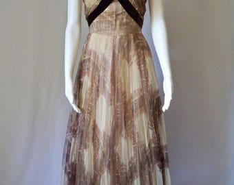1930s French Couture Evening Gown/Print Tulle/Ruched Bodice/Velvet Straps/Art Deco Dress