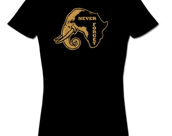 Never Forget Africa T shirt Elephant Tee African T shirt tops and tees t-shirts t shirts| Free Shipping