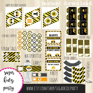 construction party pack, party printables, kids birthday pack, banners, cupcake  toppers, favor tags, favor bag toppers, centerpiece, pack