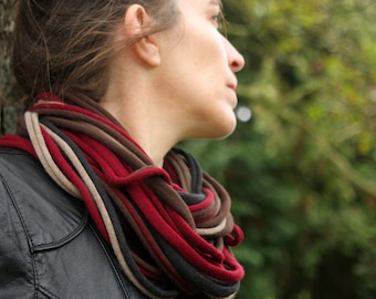 Collar necklace scarf-MULTISTRAND in fabrics knit Jersey tricolor Brown/Burgundy/beige Heather.