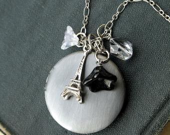 Locket Necklace, Eiffel Tower Necklace, Locket, Antiqued SIlver, Paris Locket Necklace, Long Necklace