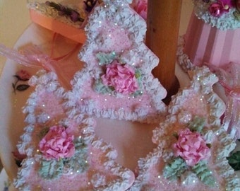 Fake cake cookie, Cottage, Shabby chic, Christmas tree, ornament pink roses,christmas  hand painted,Jennifer's Petal Palace, faux cookie,