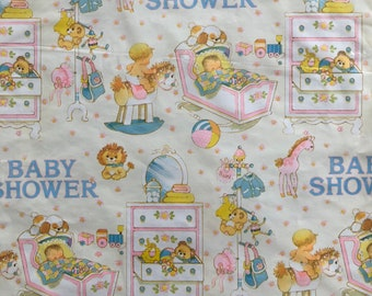 Vintage Baby Shower Wrapping Paper Sleeping Yellow Cradle Teddy Bear Rocking Horse New Baby Birthday Thank You New 2 Sheets Per Package
