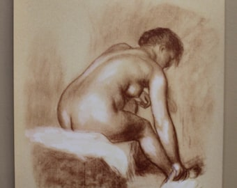 """Signed Limited Edition Renoir """"Seated Bather"""" Print 12in x 16in"""