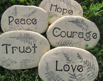 Stone Zen Garden Zen garden stones etsy set of 5 garden rocks with words custom garden stones zen garden art workwithnaturefo