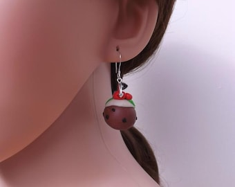 Christmas pudding earrings, fimo earrings, handmade earrings,
