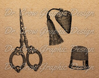 Set of 3 Vintage Sewing Clipart - Each in 4 File Formats:Vector + JPEG + PDF + PNG - Scissor - Metal Thimble - Antique Strawberry Pincushion