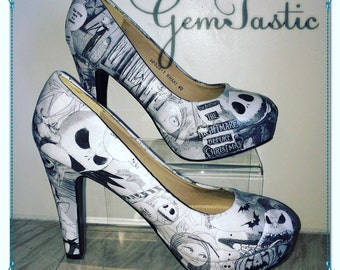 Nightmare Before Christmas Heels shoes decoupage