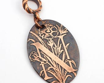 Copper N pendant, oval flat antiqued metal monogram jewelry, optional necklace, 31mm