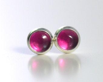 pink lab ruby corundum 4mm sterling silver stud earrings pair