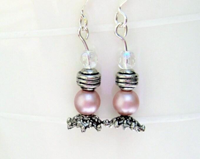 Pink Glass Pearl Earrings, Dangle Earrings, Hook Earrings, Bell Art Designs 34