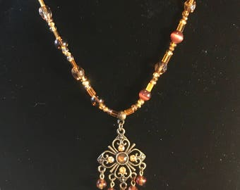 Antiqued Amber - Necklace Earrings