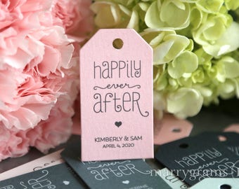 Favor Tags Bridal Shower Wedding Happily Ever After Thank You Tags Cute w. Name & Date Personalized Super Cute, Fast Shipping- Bulk Listing