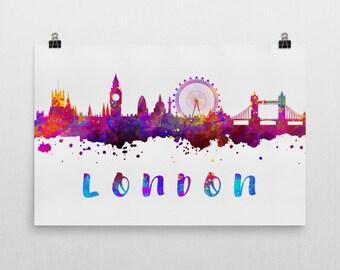London Skyline, London Skyline Canvas, London Skyline Art, London Watercolor Skyline, Skyline of London, Art, Poster, Gift